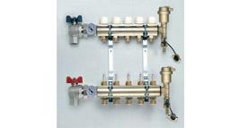 plně osazený rozdělovač, podlahové vytápění / přívod G1 / rohový